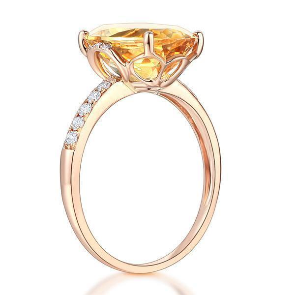 Citrine Solitare (5.2ct) Ring in 14k Rose Gold with Diamonds (0.22ct) 14K Gold Engagement Rings Oanthan