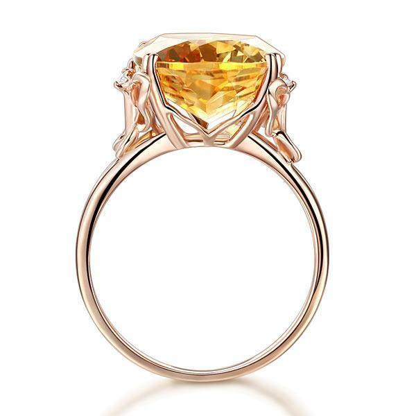 Citrine Solitare (8.2ct) Ring in 14k Rose Gold with Diamonds (0.03ct) 14K Gold Engagement Rings Oanthan