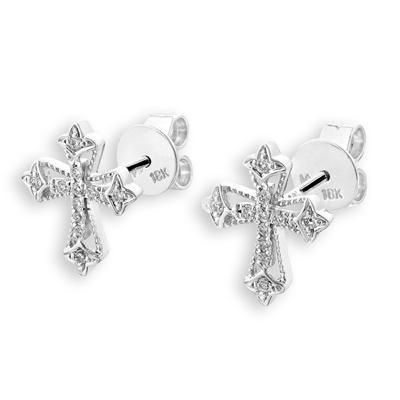 Cross Earrings in 18k White Gold with Diamonds (0.102ct) Earrings IAD