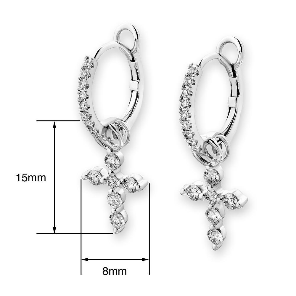 Cross Earrings in 18k White Gold with Diamonds (0.493ct) Earrings IAD