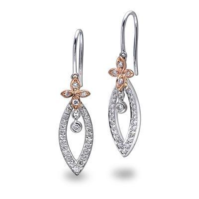 Cross Earrings in 18k White & Rose Gold with Diamonds (0.389ct) Earrings IAD