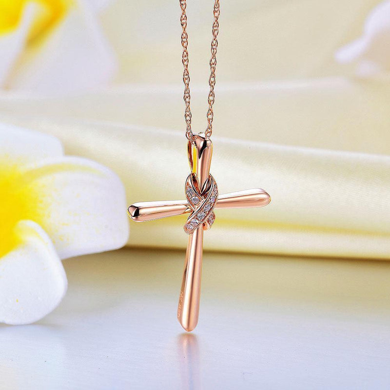 Cross Pendant in 14k Rose Gold with Diamonds (0.04ct) 14K Gold Pendants Oanthan