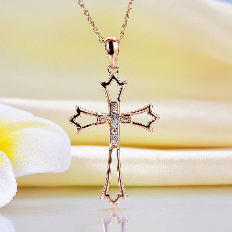 Cross Pendant in 14k Rose Gold with Diamonds (0.07ct) 14K Gold Pendants Oanthan