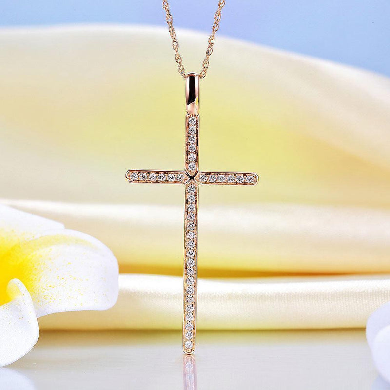Cross Pendant in 14k Rose Gold with Diamonds (0.3ct) 14K Gold Pendants Oanthan