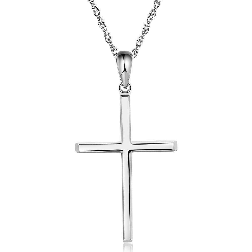 Cross Pendant in 14k White Gold 14K Gold Pendants Oanthan