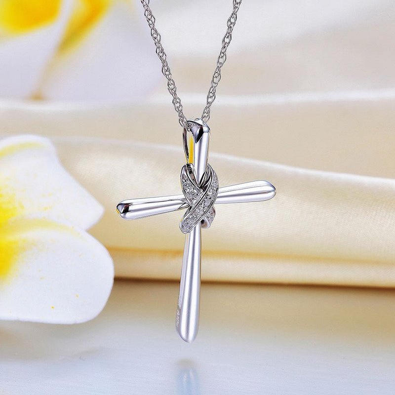 Cross Pendant in 14k White Gold with Diamonds (0.057ct) 14K Gold Pendants Oanthan