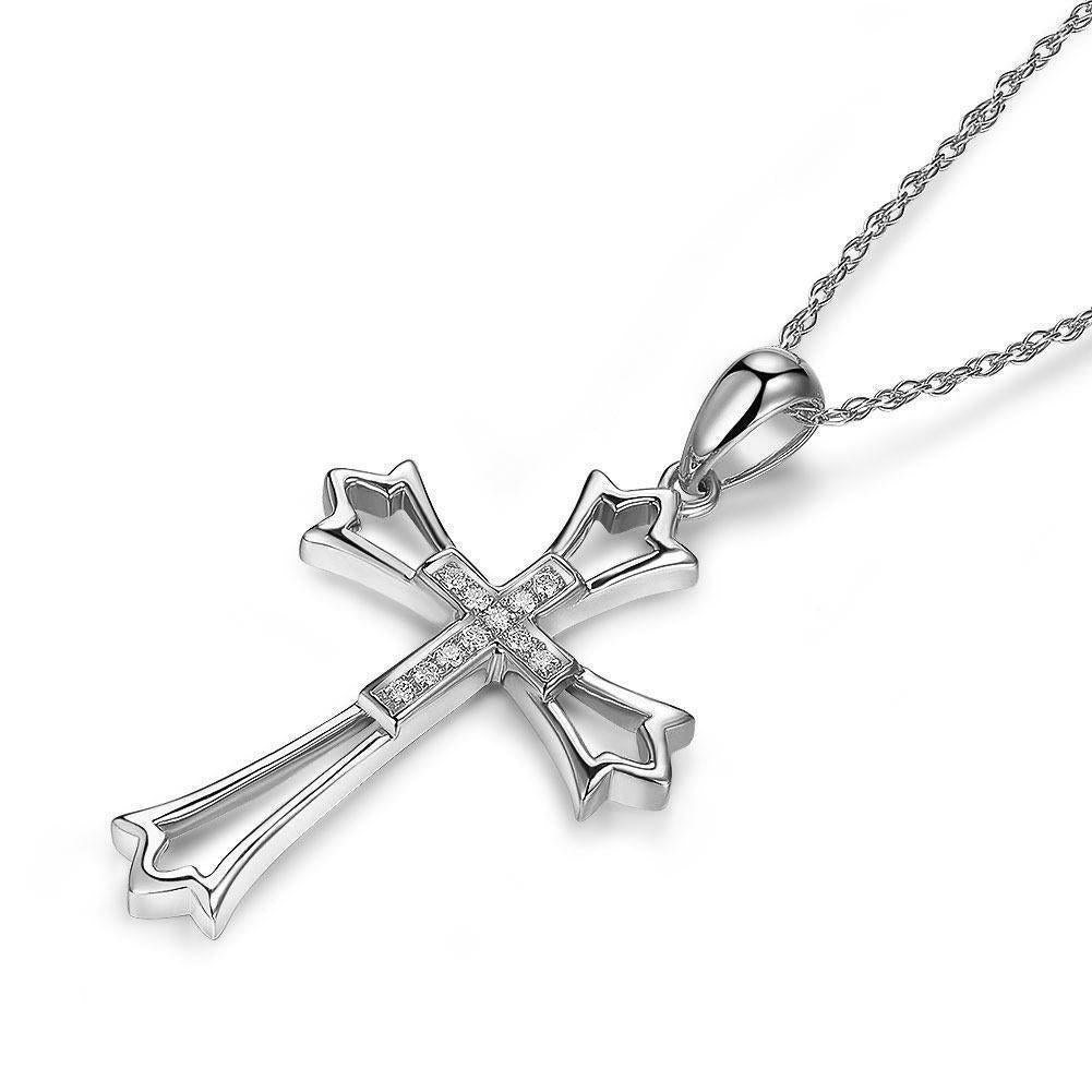 Cross Pendant in 14k White Gold with Diamonds (0.07ct) 14K Gold Pendants Oanthan