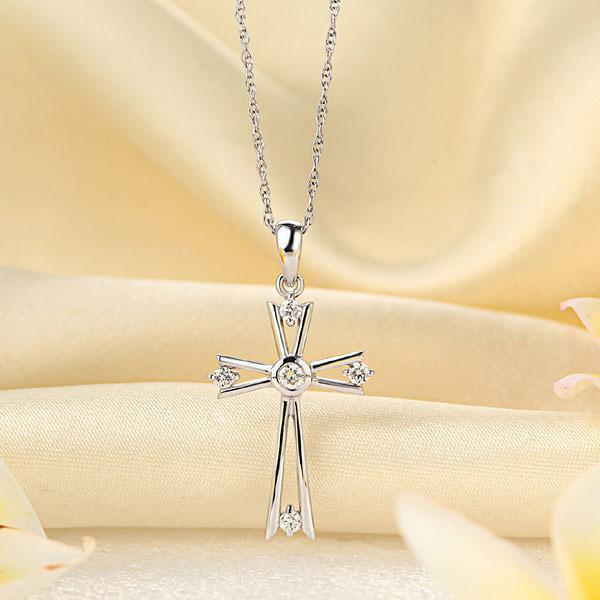Cross Pendant in 14K White Gold with Diamonds (0.21ct) 14K Gold Pendants Oanthan