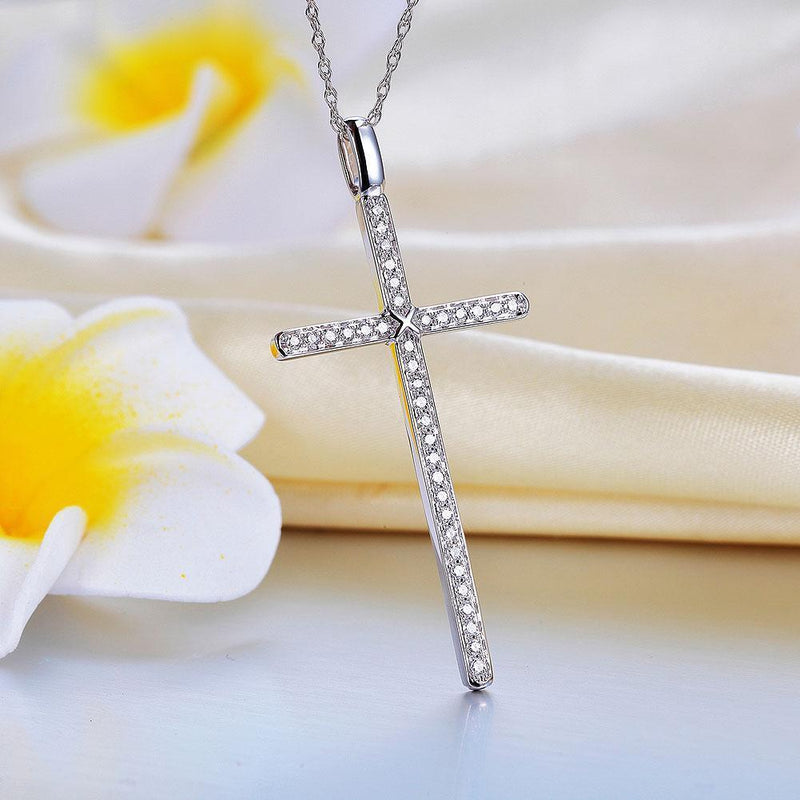 Cross Pendant in 14k White Gold with Diamonds (0.30ct) 14K Gold Pendants Oanthan