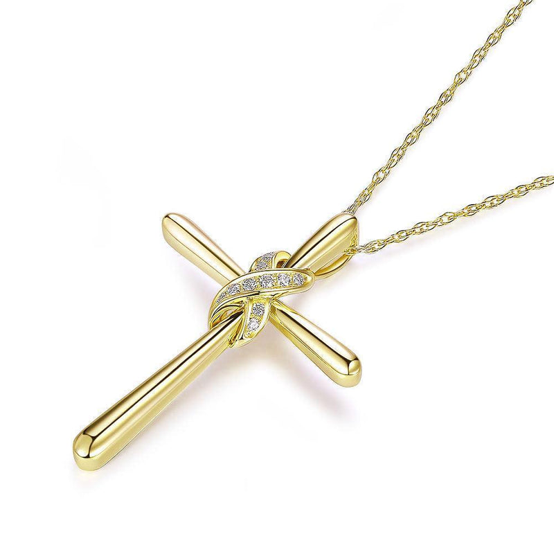 Cross Pendant in 14k Yellow Gold with Diamonds (0.04ct) 14K Gold Pendants Oanthan
