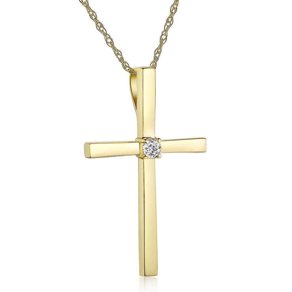 Cross Pendant in 14k Yellow Gold with Diamonds (0.08ct) 14K Gold Pendants Oanthan