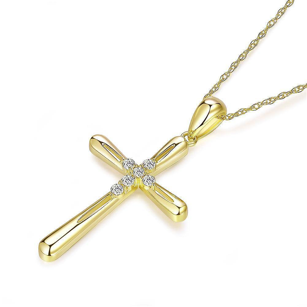 Cross Pendant in 14k Yellow Gold with Diamonds (0.13ct) 14K Gold Pendants Oanthan