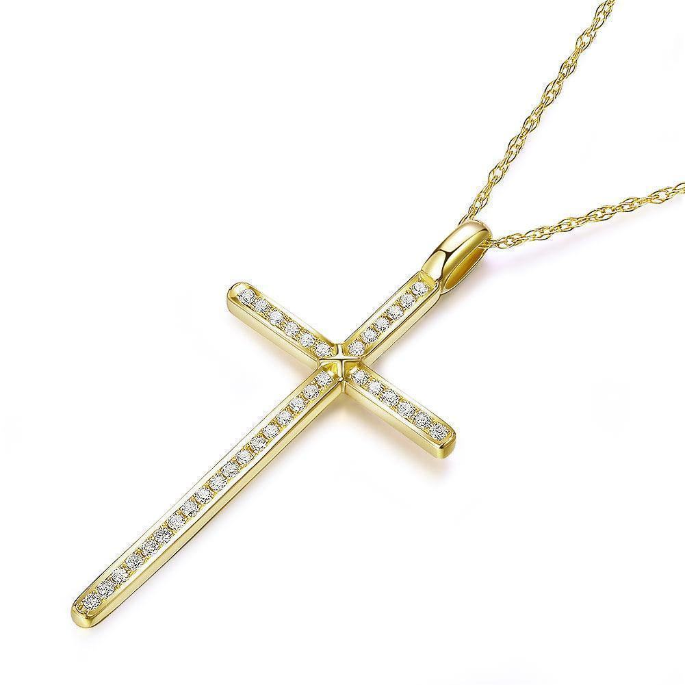 Cross Pendant in 14k Yellow Gold with Diamonds (0.3ct) 14K Gold Pendants Oanthan
