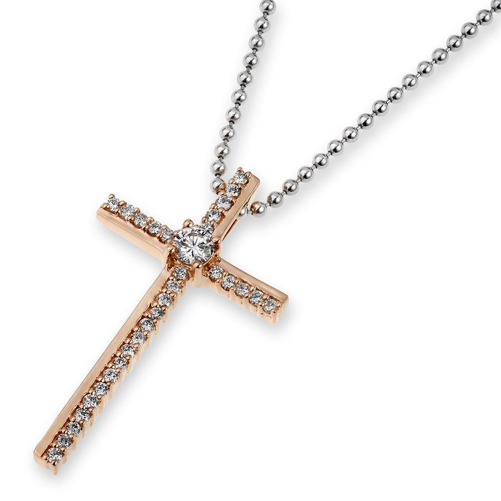 Cross Pendant in 18k Rose Gold with Diamonds (0.231ct) Pendant IAD