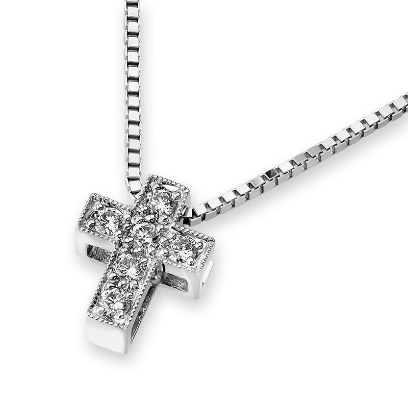 Cross Pendant in 18k White Gold with Diamonds (0.073ct) Pendant IAD