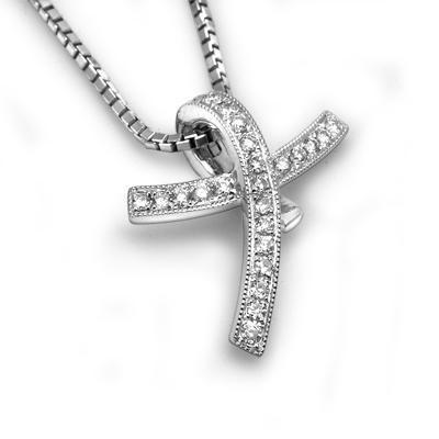 Cross Pendant in 18k White Gold with Diamonds (0.078ct) Pendant IAD