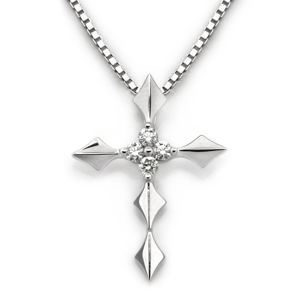 Cross Pendant in 18k White Gold with Diamonds (0.081ct) Pendant IAD