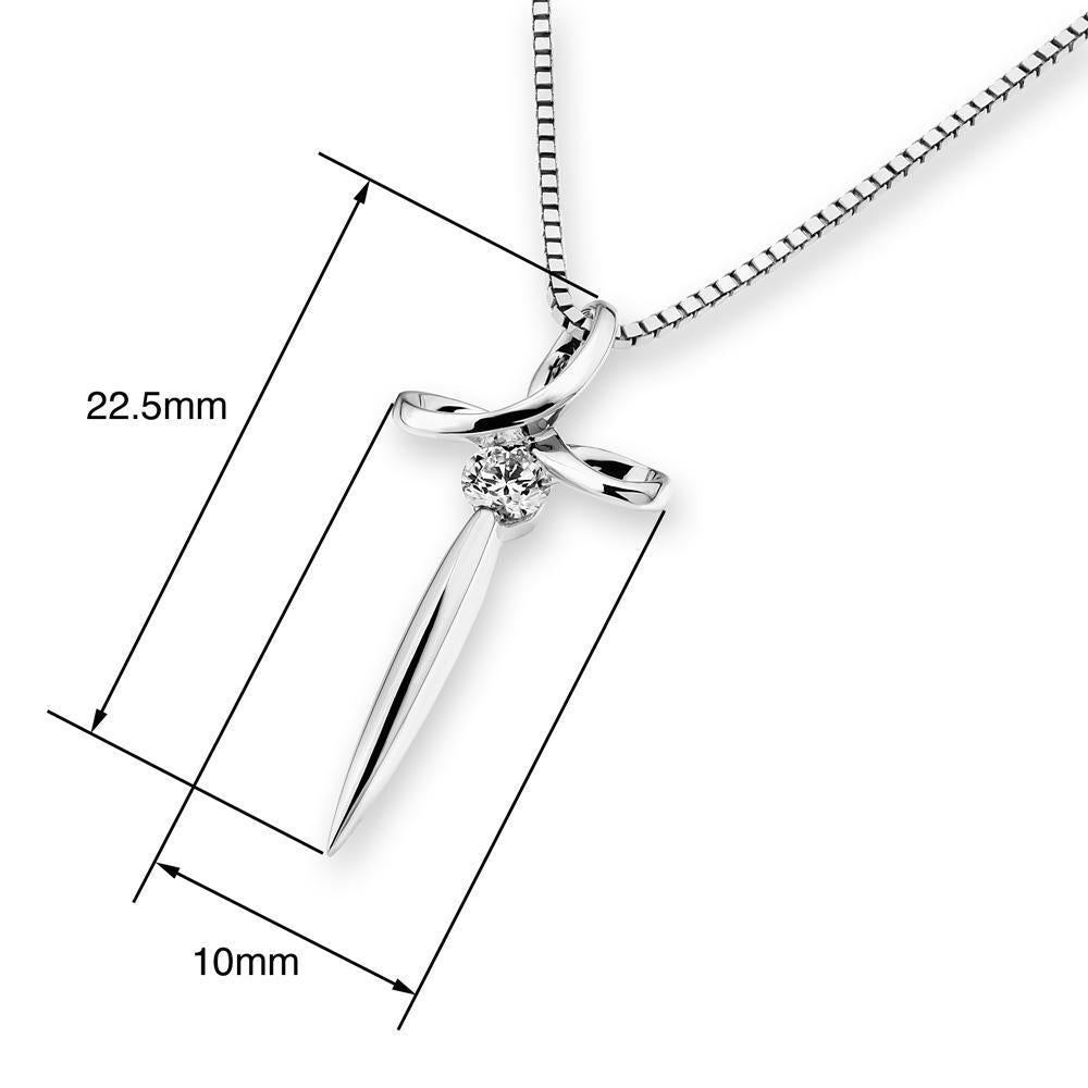 Cross Pendant in 18k White Gold with Diamonds (0.101ct) Pendant IAD