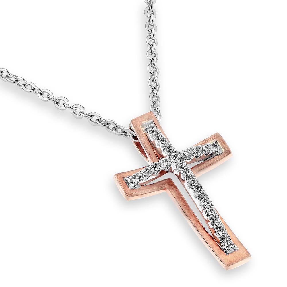 Cross Pendant in 18k White Gold with Diamonds (0.102ct) Pendant IAD