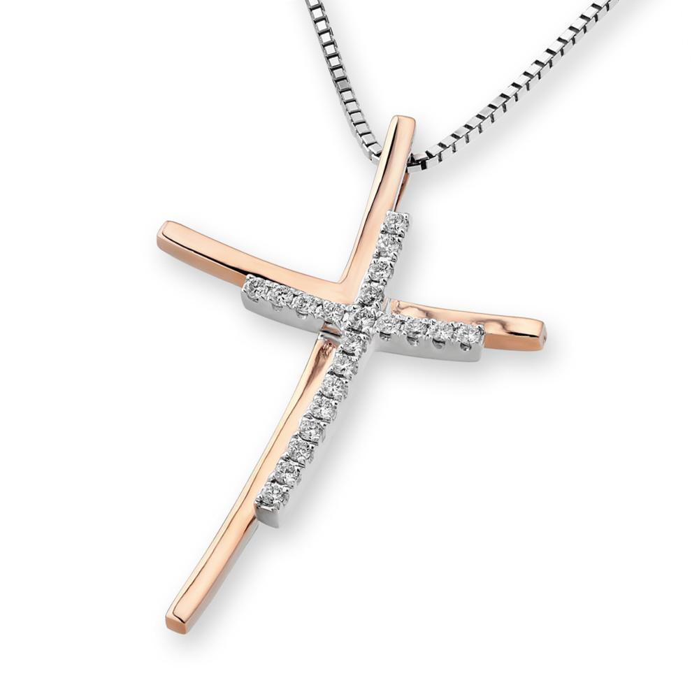Cross Pendant in 18k White Gold with Diamonds (0.12ct) Pendant IAD