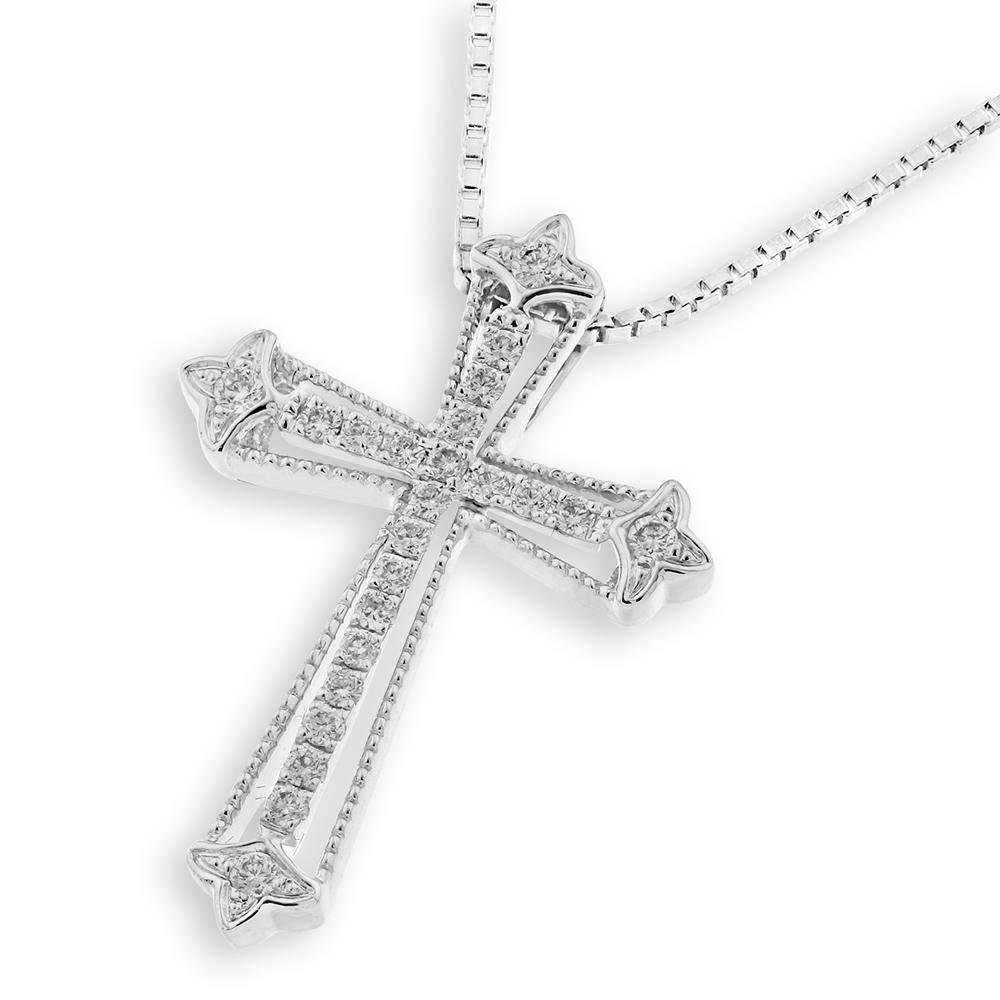 Cross Pendant in 18k White Gold with Diamonds (0.171ct) Pendant IAD