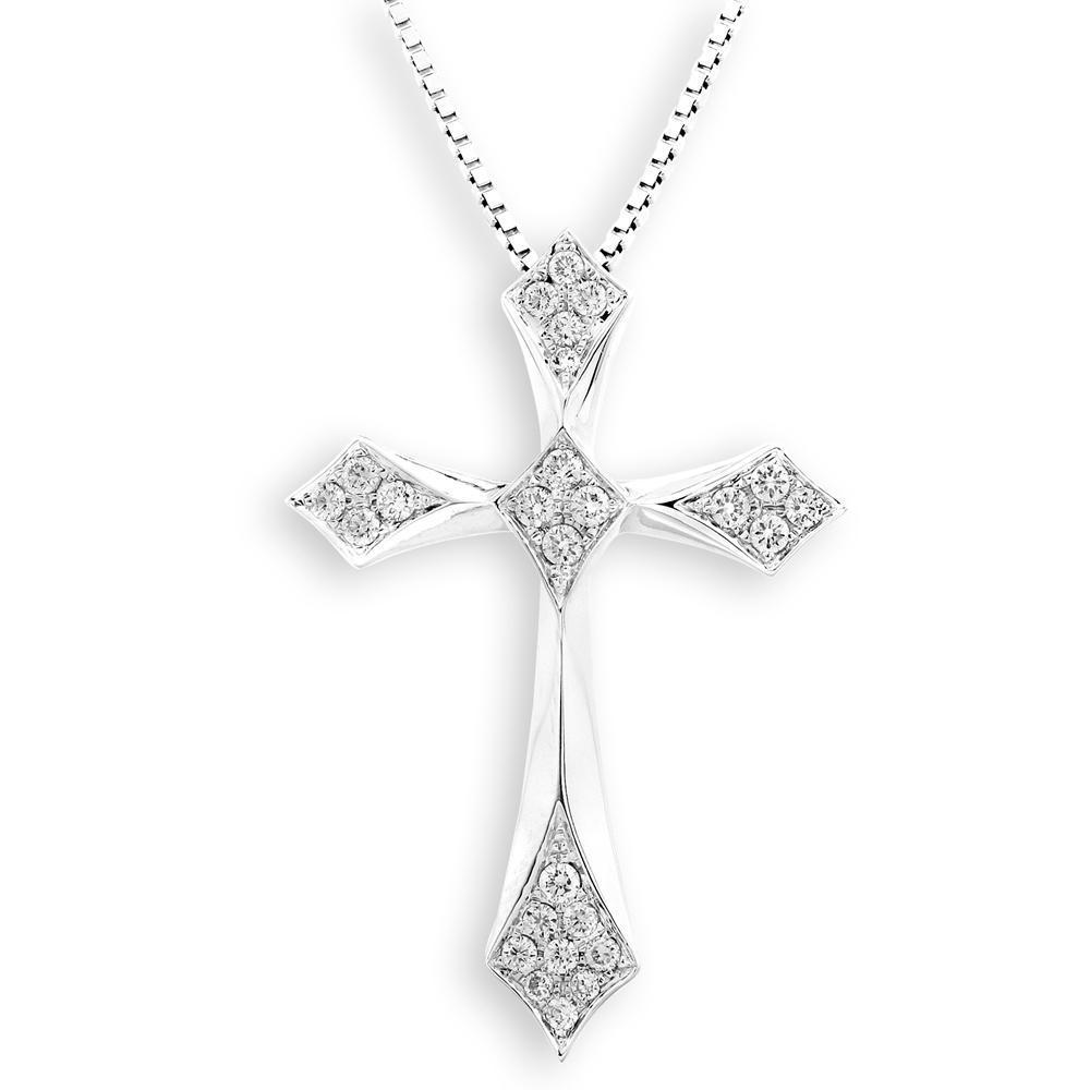 Cross Pendant in 18k White Gold with Diamonds (0.267ct) Pendant IAD