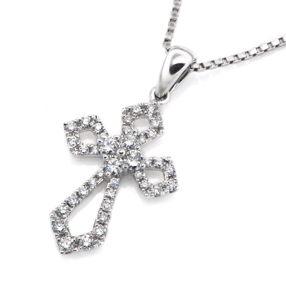Cross Pendant in 18k White Gold with Diamonds (0.273ct) Pendant IAD