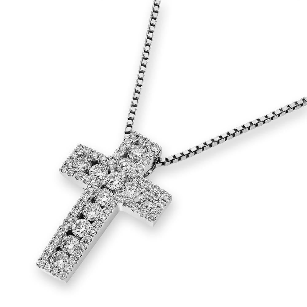 Cross Pendant in 18k White Gold with Diamonds (0.601ct) Pendant IAD
