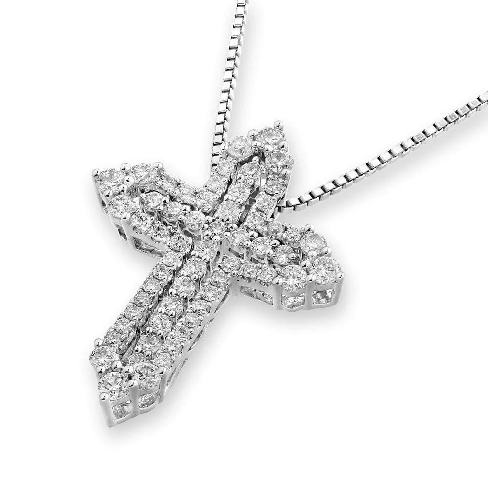 Cross Pendant in 18k White Gold with Diamonds (0.655ct) Pendant IAD