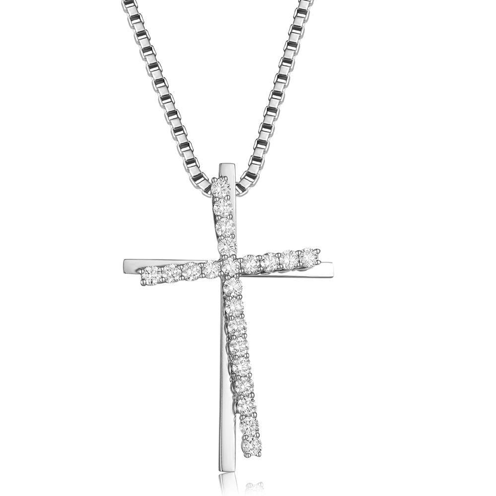 Cross Pendant in 18k White Gold with Diamonds (1.121ct) Pendant IAD