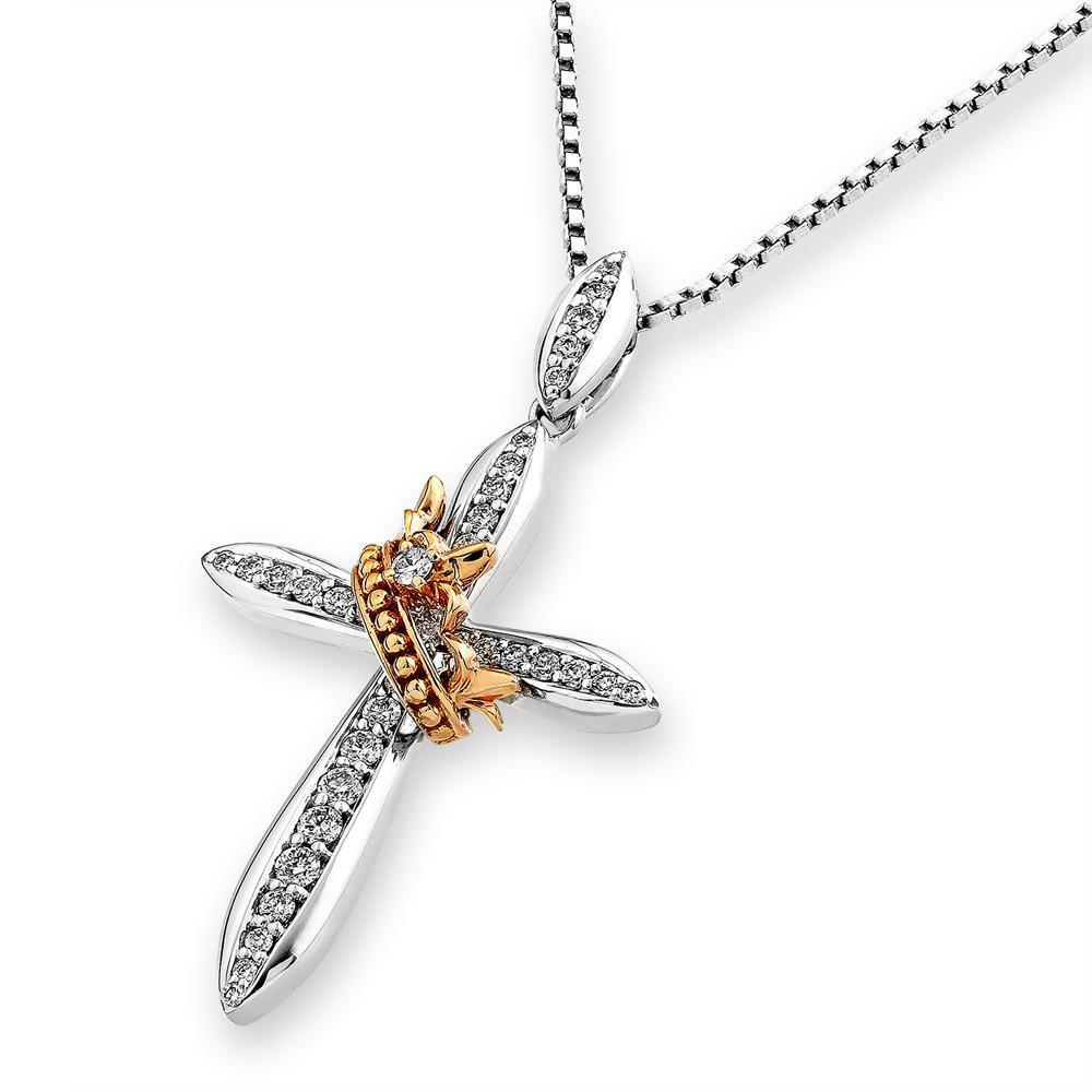 Cross Pendant in 18k White & Rose Gold with Diamonds (0.228ct) Pendant IAD