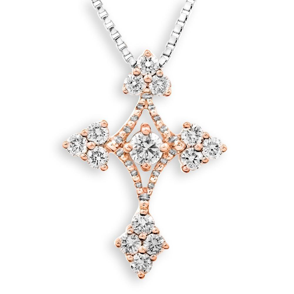 Cross Pendant in 18k White & Rose Gold with Diamonds (0.474ct) Pendant IAD