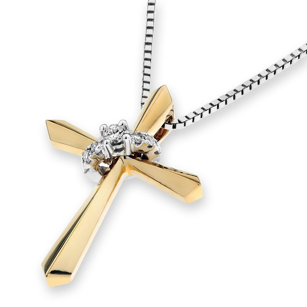 Cross Pendant in 18k Yellow Gold with Diamonds (0.048ct) Pendant IAD