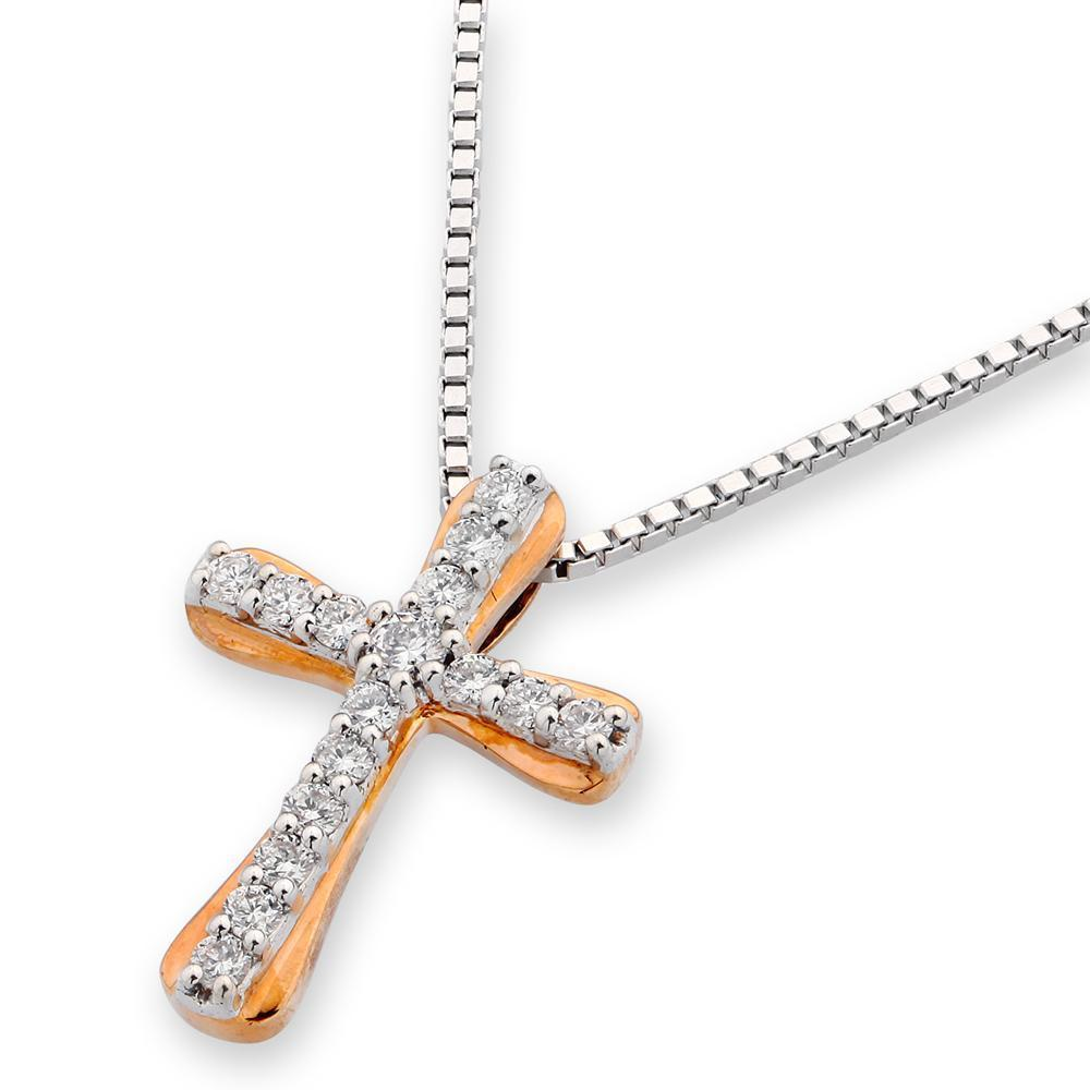Cross Pendant in18k Rose Gold with Diamonds (0.2ct) Pendant IAD