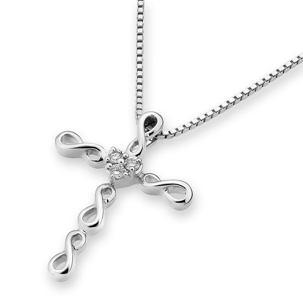 Cross Pendant in18k White Gold with Diamonds (0.05ct) Pendant IAD