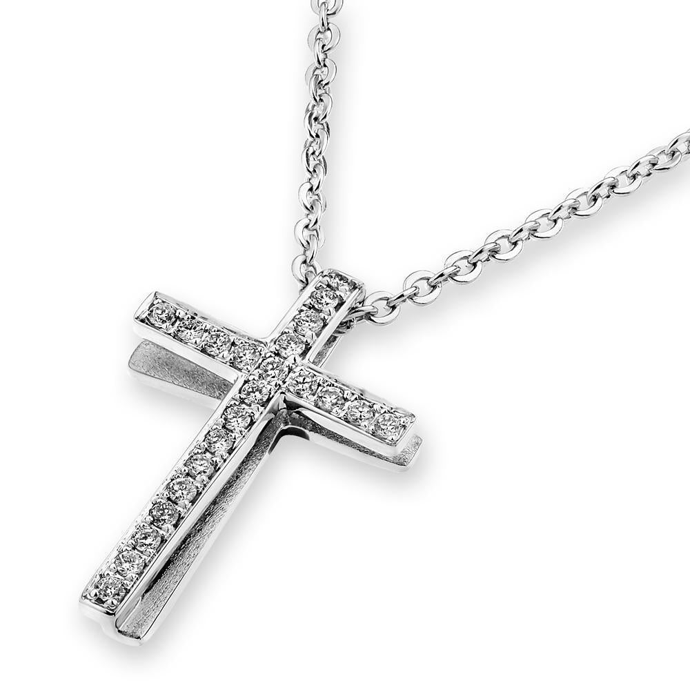 Cross Pendant in18k White Gold with Diamonds (0.104ct) Pendant IAD