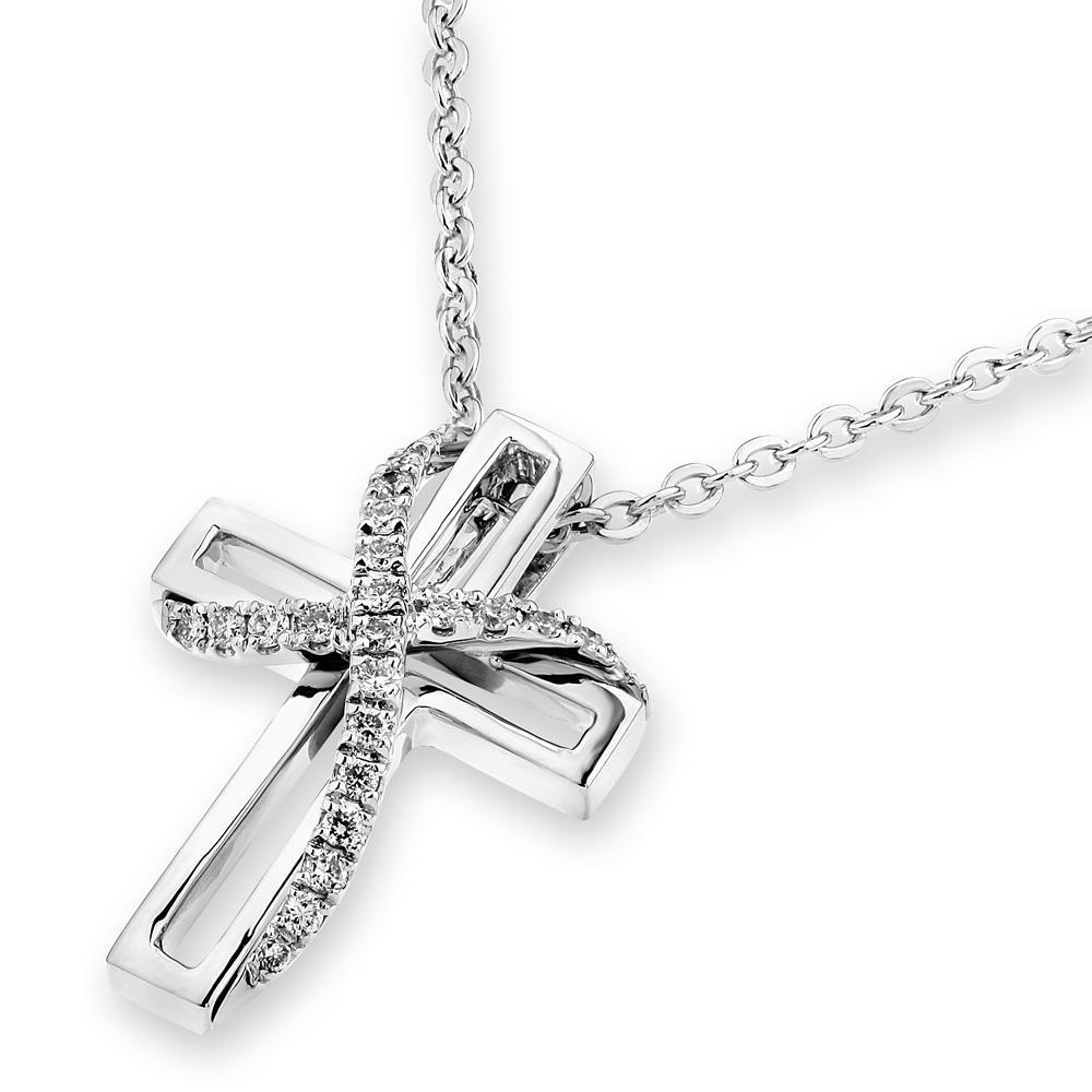 Cross Ribbon Pendant in 18k White Gold with Diamonds (0.086ct) Pendant IAD