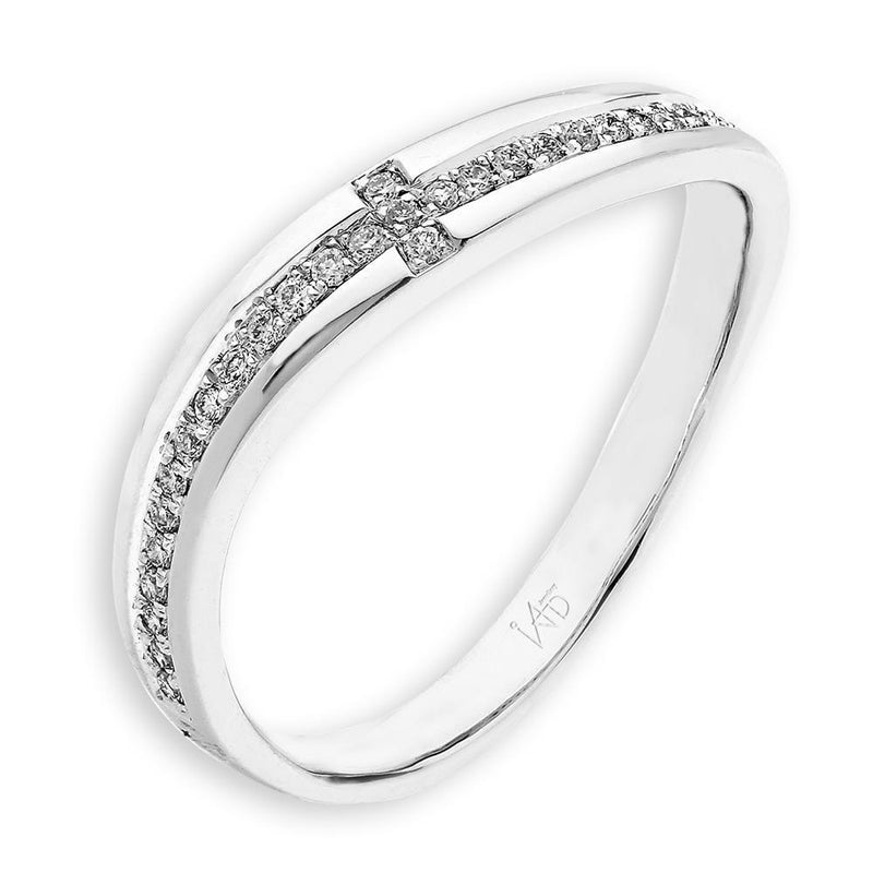 Cross Ring in 18k White Gold with Diamonds (0.11ct) Ring IAD