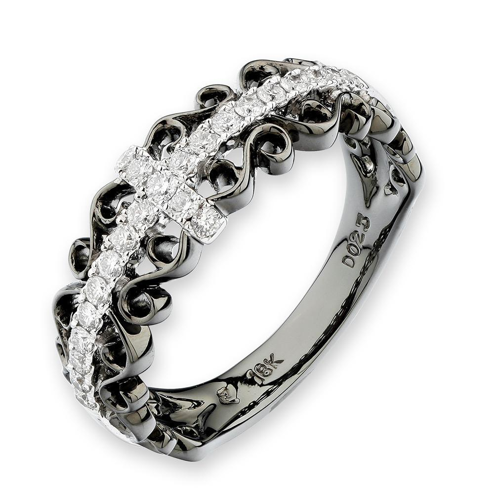 Cross Ring in 18k White Gold with Diamonds (0.233ct) Ring IAD