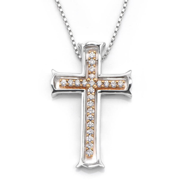 Cross Two-Piece Pendant in 18k White & Rose Gold with Diamonds (0.309ct) Pendant IAD