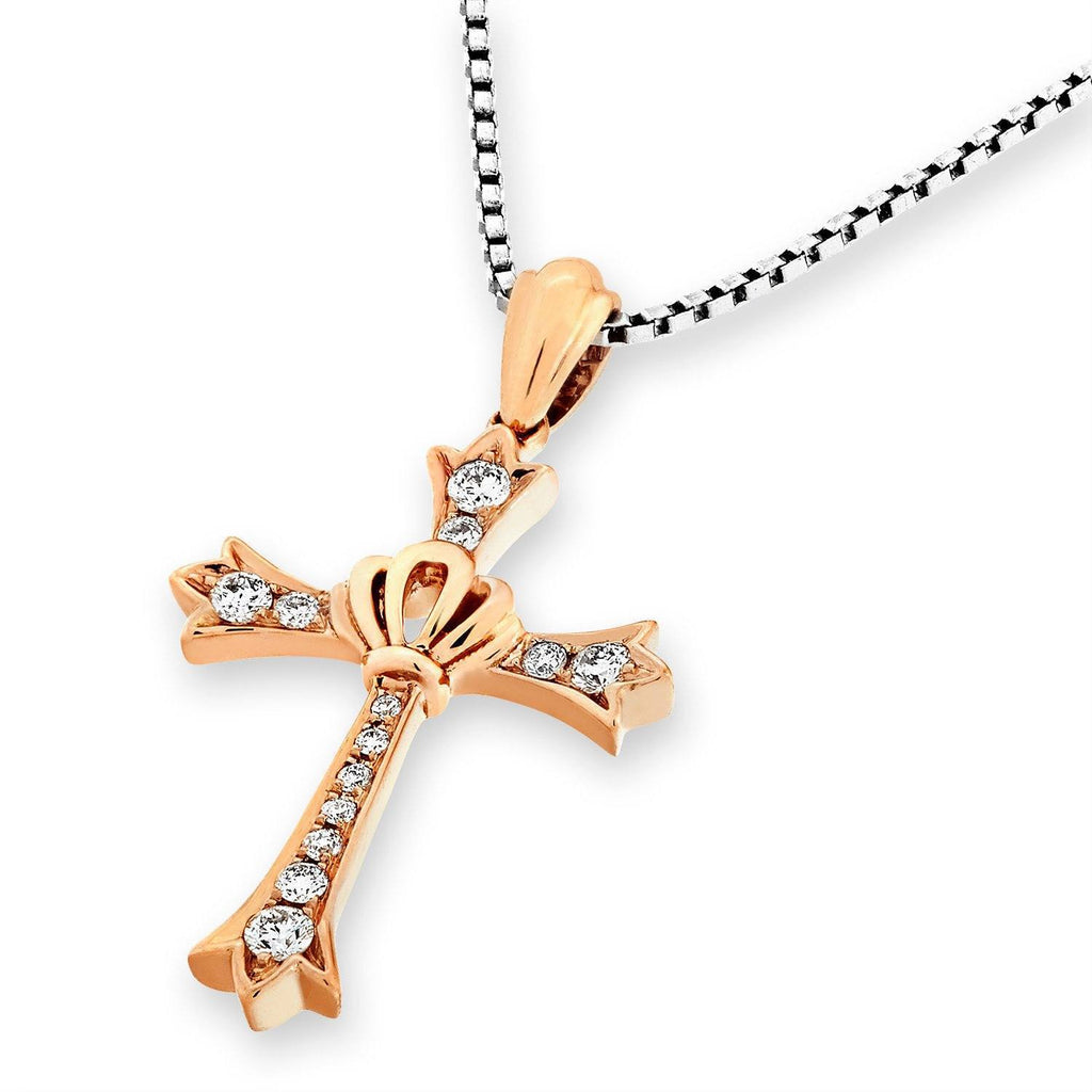 Crown Cross Pendant in 18k Rose Gold with Diamonds (0.129ct) Pendant IAD