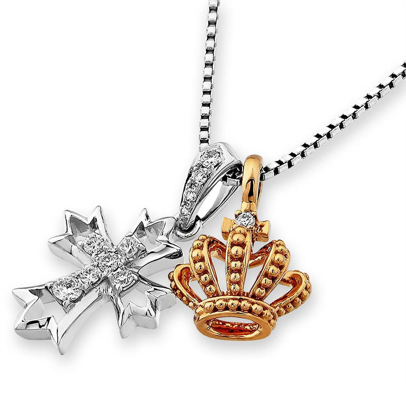 Crown & Cross Two-Piece Pendant in 18k White & Rose Gold with Diamonds (0.12ct) Pendant IAD