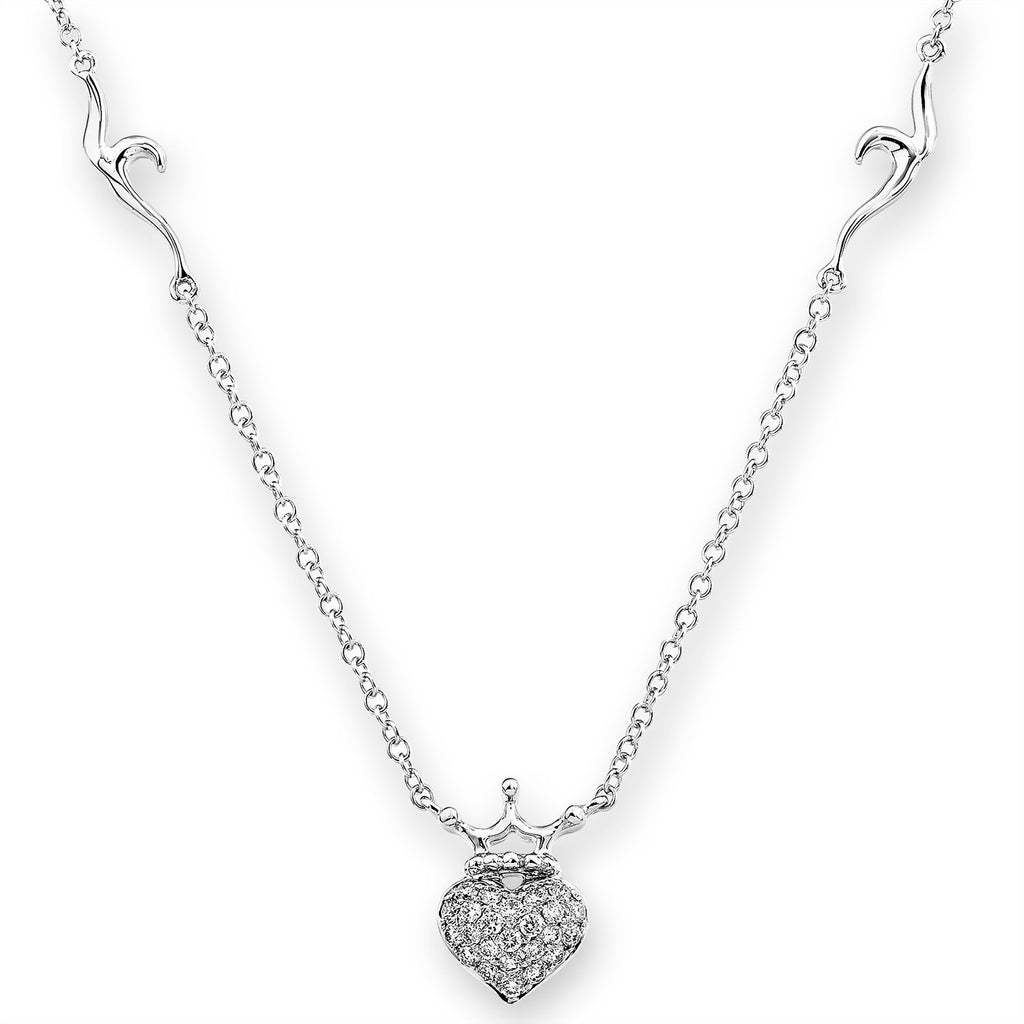 Crown Heart Necklace in 18k White Gold with Diamonds (0.186ct) Necklace IAD