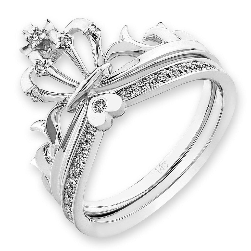 Crown Ring in 18k White Gold with Diamonds (0.129ct) Ring (part of a set) IAD