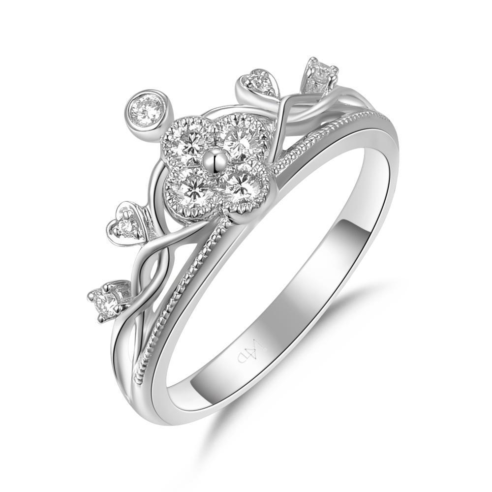 Crown Ring in 18k White Gold with Diamonds (0.229ct) Ring IAD