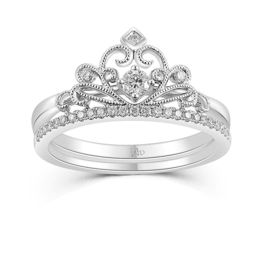Crown Ring in 18k White Gold with Diamonds (0.236ct) Ring (part of a set) IAD