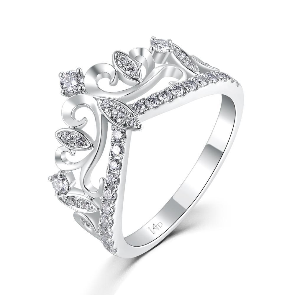 Crown Ring in 18k White Gold with Diamonds (0.367ct) Ring IAD