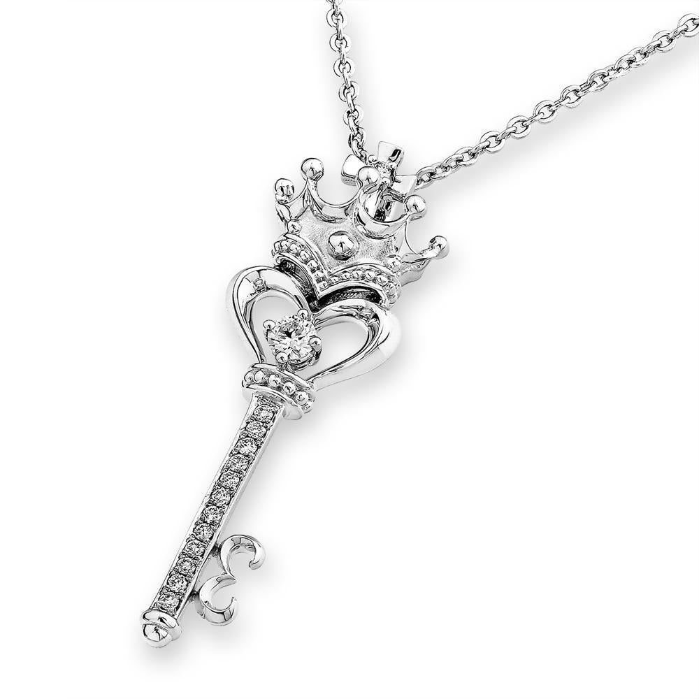 Crowned Heart-Key Pendant in 18k White Gold with Diamonds (0.153ct) Pendant IAD