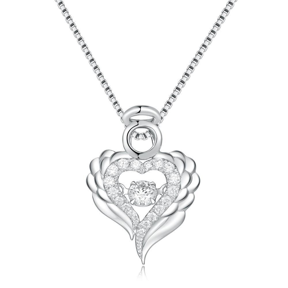 Dancing Diamonds Angel-Heart Pendant in 18k White Gold with Diamonds (0.245ct) Pendant IAD