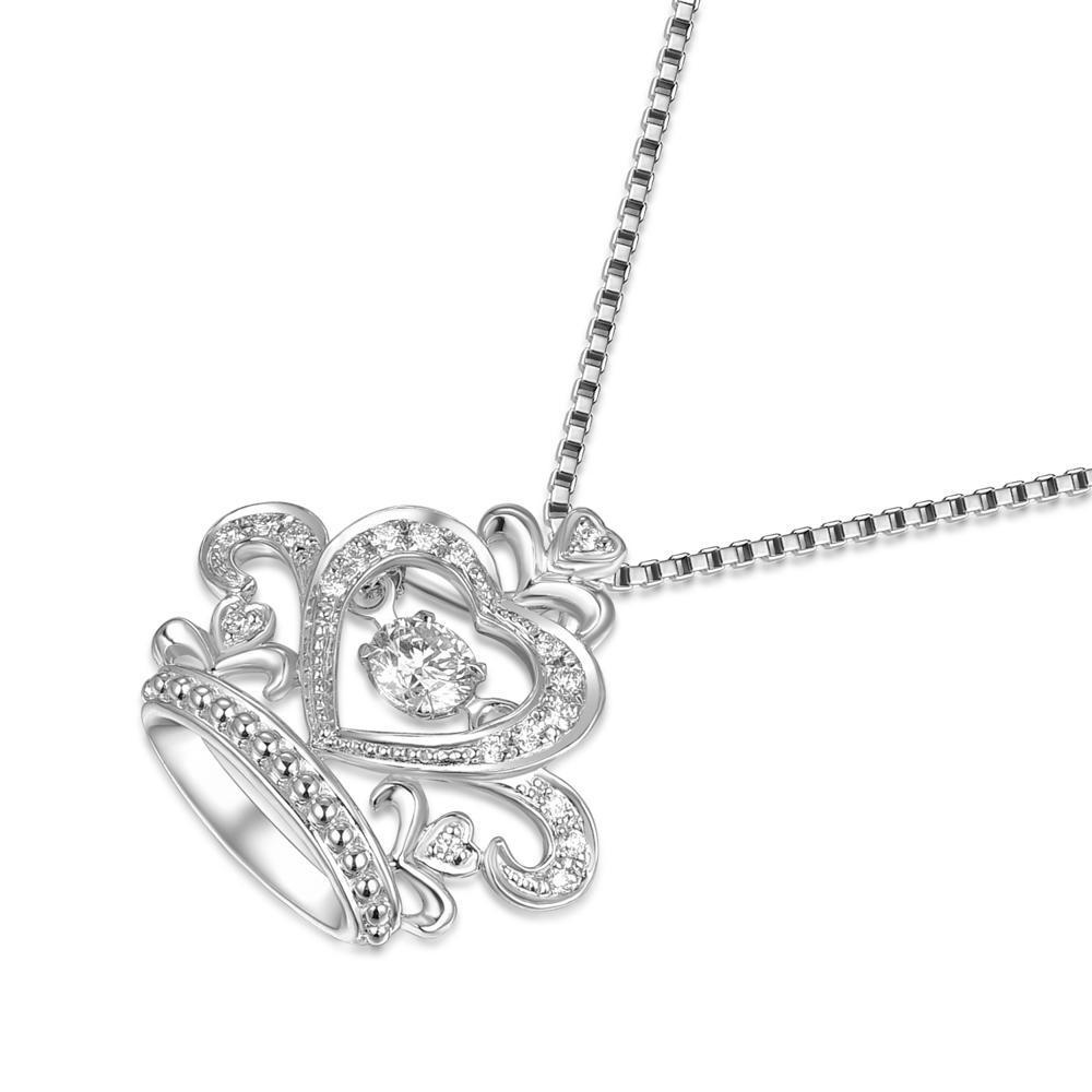 Dancing Diamonds Crown Pendant in 18k White Gold with Diamonds (0.132ct) Pendant IAD